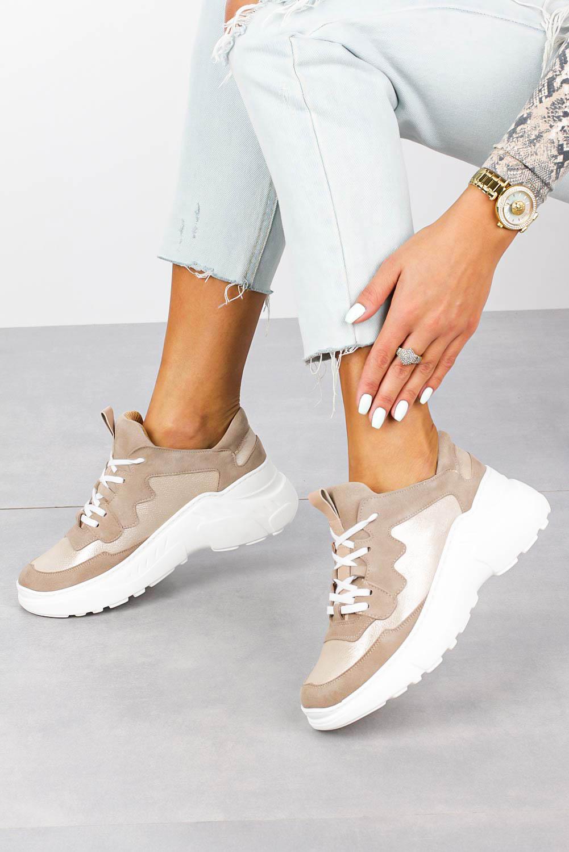 Beżowe sneakersy Kati buty sportowe sznurowane 7037 beżowy