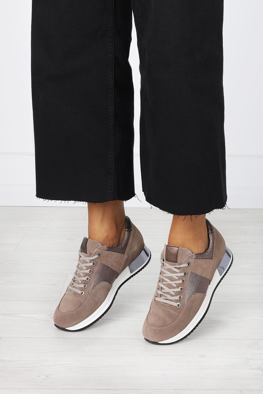 Beżowe sneakersy Kati buty sportowe sznurowane polska skóra 7003 beżowy