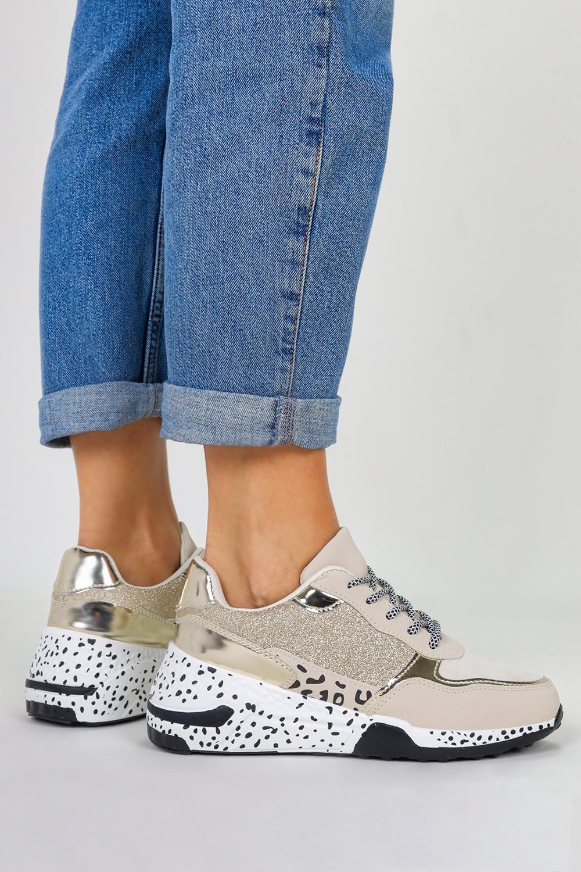 Beżowe sneakersy na koturnie buty sportowe sznurowane Casu BL215P jasny beżowy