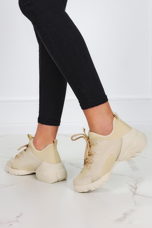 Beżowe sneakersy na koturnie buty sportowe sznurowane Casu LA126 beżowy