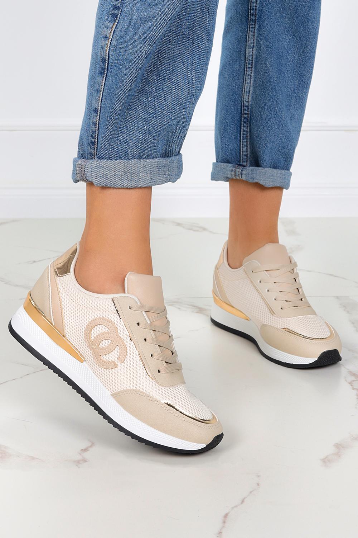 Beżowe sneakersy na koturnie buty sportowe sznurowane Casu LA160P beżowy