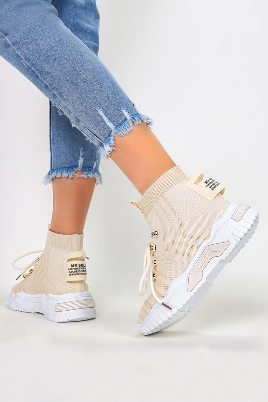 Beżowe sneakersy skarpetkowe buty sportowe na platformie Casu LA136 jasny beżowy