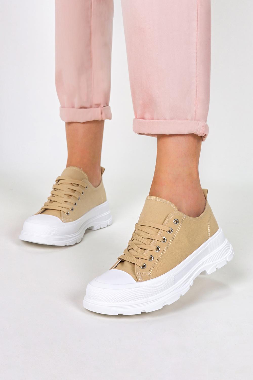 Beżowe trampki na platformie buty sportowe sznurowane Casu R-100 beżowy