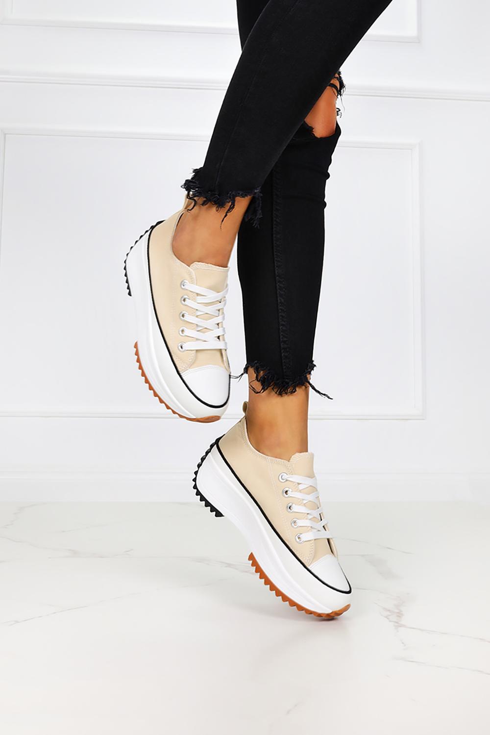 Beżowe trampki na platformie buty sportowe sznurowane Casu VL137P beżowy