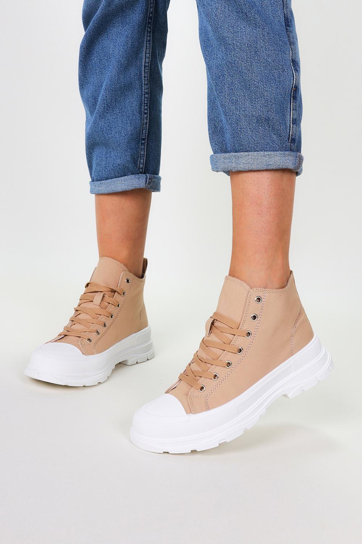 Beżowe trampki na platformie wysokie buty sportowe sznurowane Casu 8819 beżowy