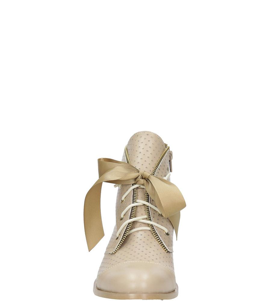 Beżowe trzewiki ażurowe wiązane wstążką Casu 3106 style Ażurowy