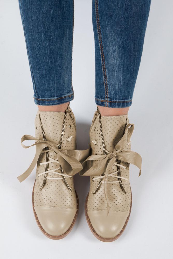 Beżowe trzewiki ażurowe wiązane wstążką Casu 3106 wys_calkowita_buta 16 cm