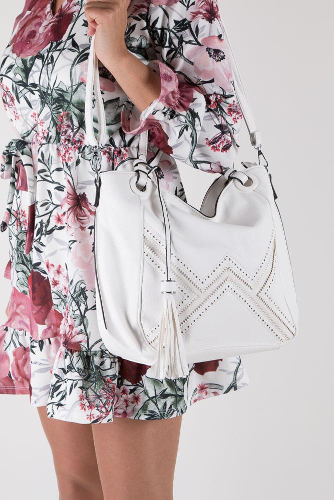 Biała torebka Casu 2058 kolor biały