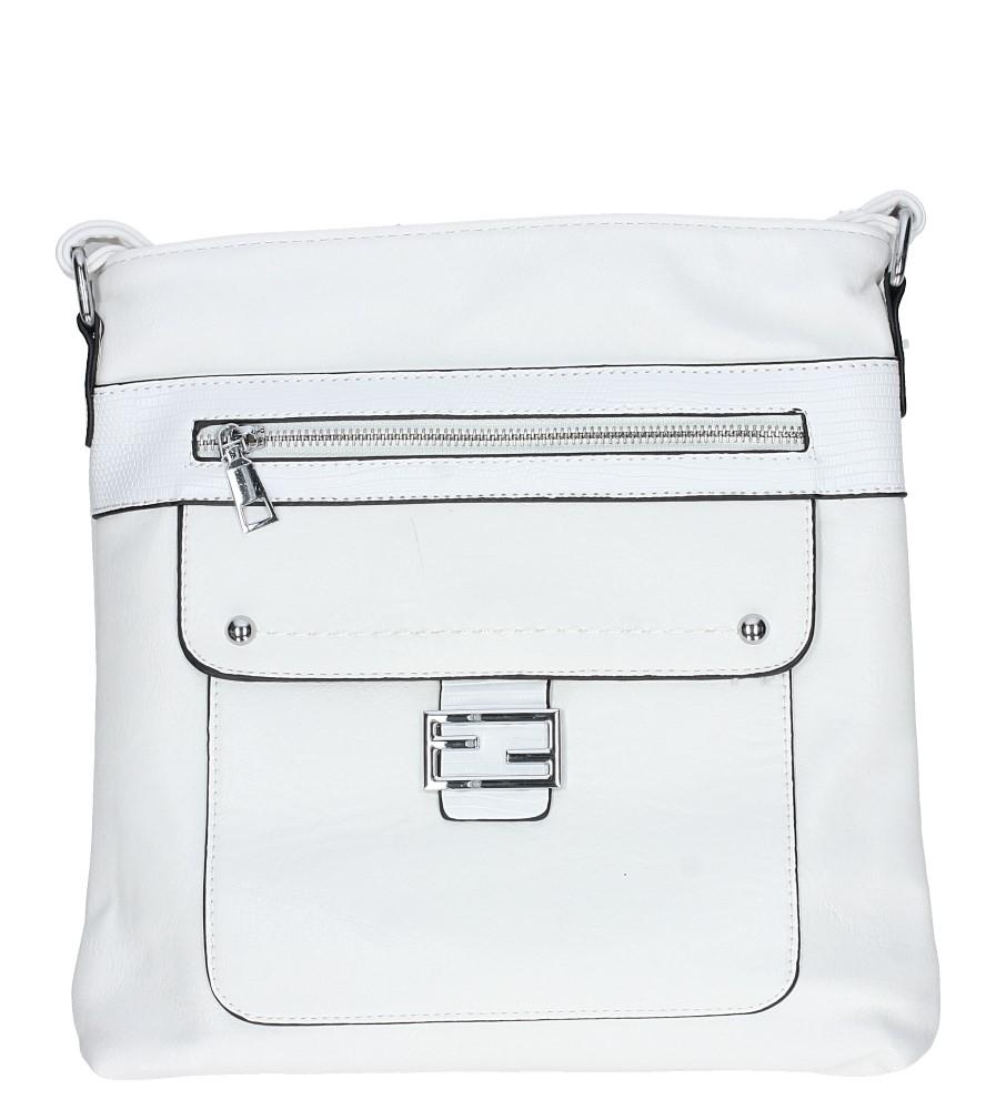 Biała torebka listonoszka z metalową ozdobą Casu D54