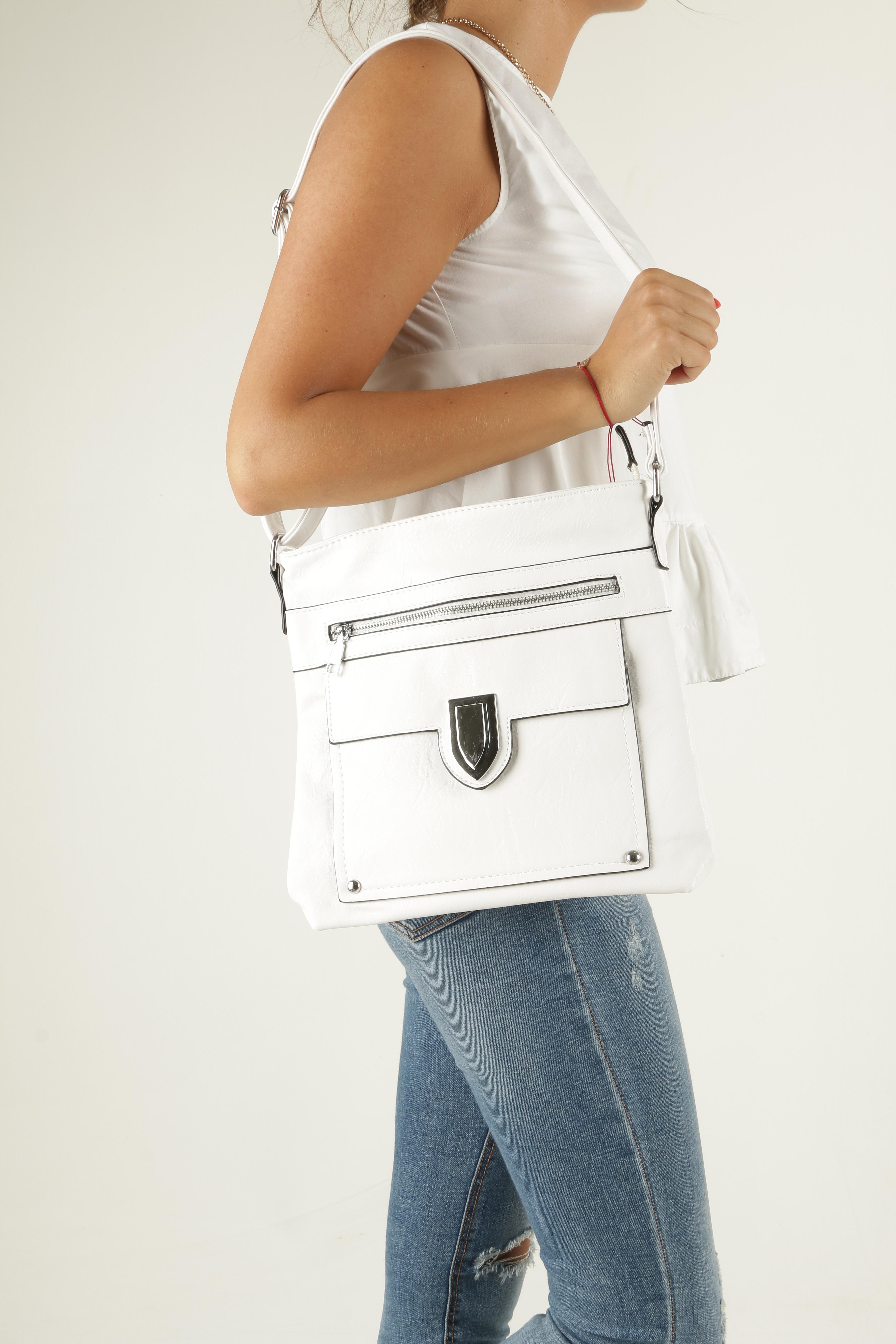 Biała torebka listonoszka z metalową ozdobą Casu D99