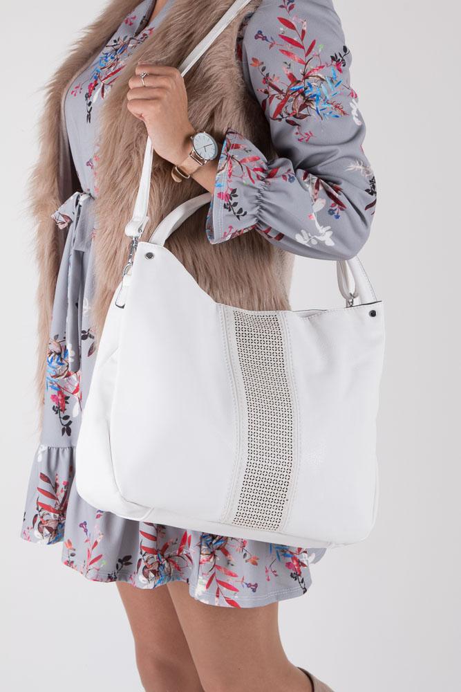 Biała torebka z ażurowym wykończeniem Casu 2065 sezon Lato