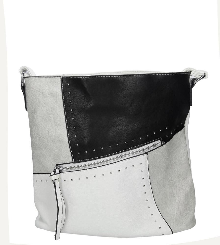 Biała torebka z ozdobnymi suwakami i nitami Casu 8738