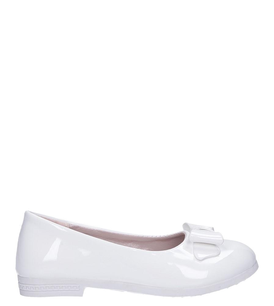 Białe baleriny lakierowane z kokardką Casu JY-3026 model JY-3026