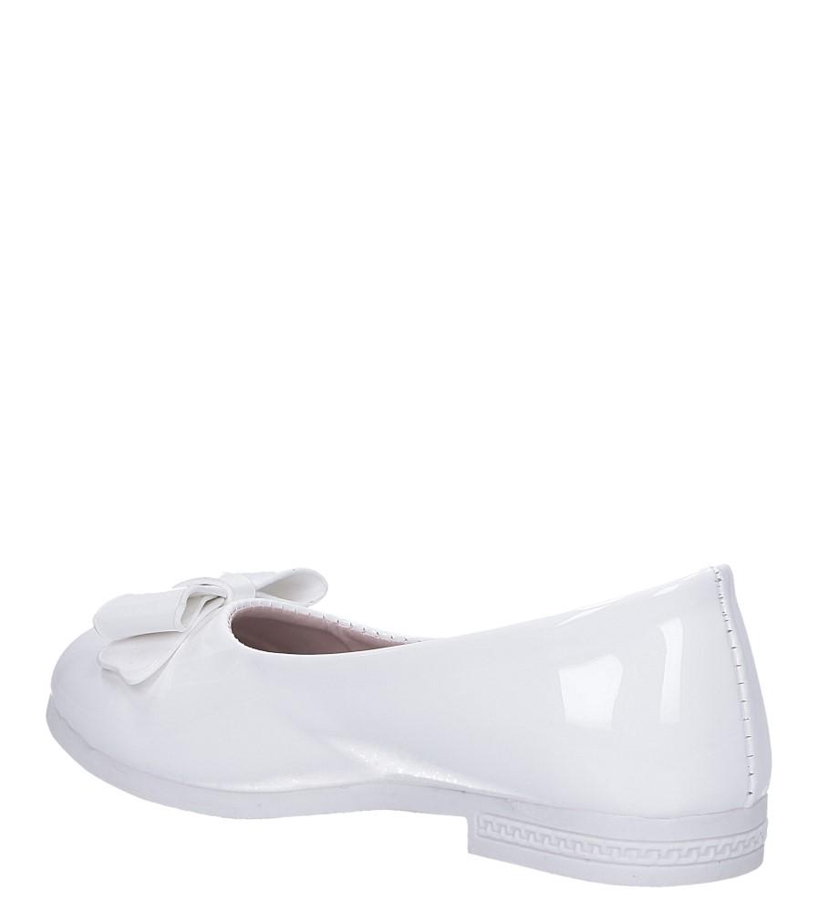 Białe baleriny lakierowane z kokardką Casu JY-3026 sezon Wczesna wiosna