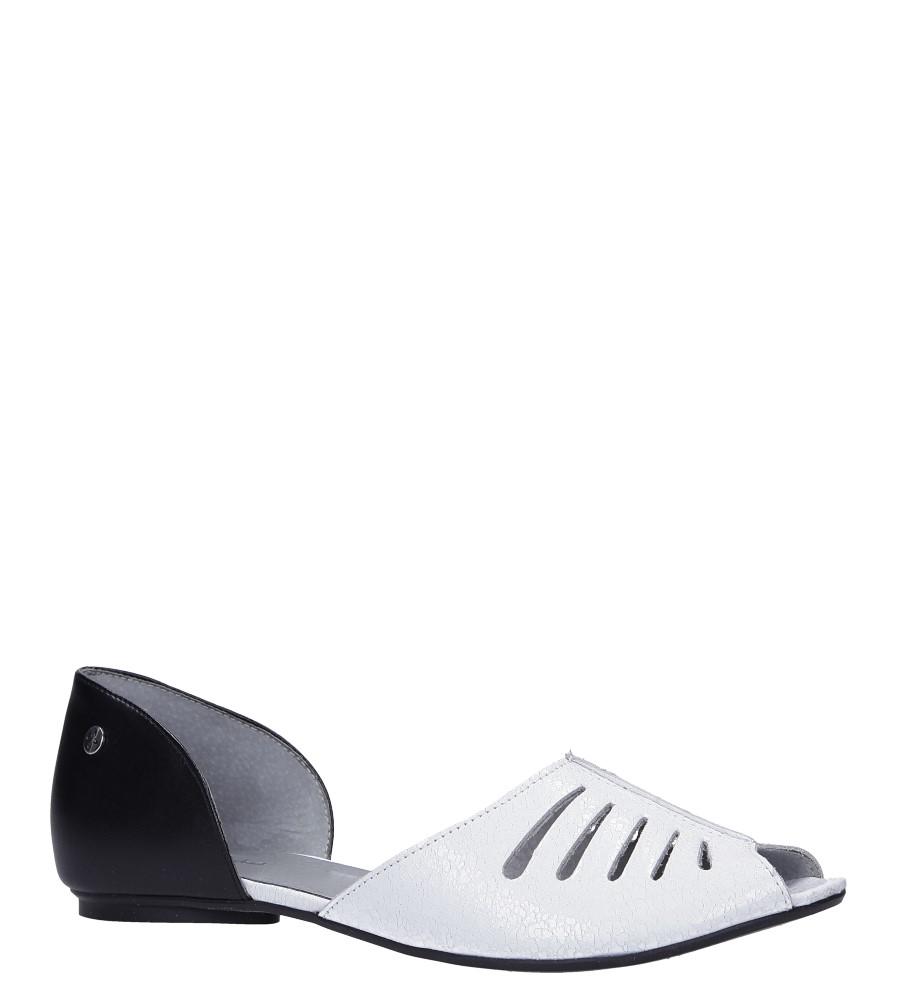 Białe baleriny skórzane peep toe z odkrytymi palcami Maciejka 03976-21/00-5