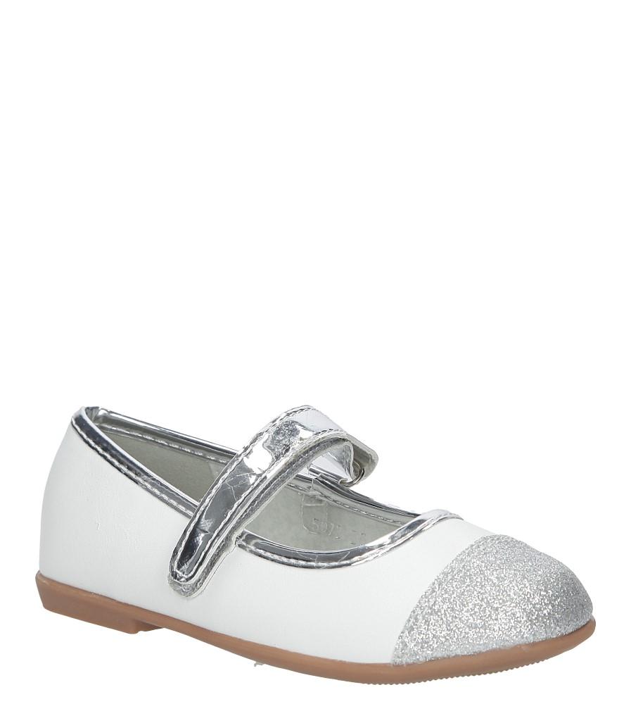 Białe baleriny z brokatem na rzep S.Barski 5673-B5