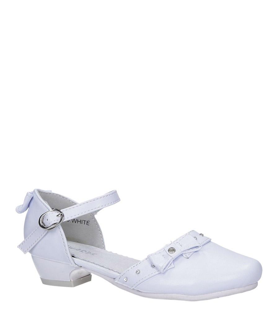 Białe buty komunijne z kokardką i cyrkoniami Casu C6929