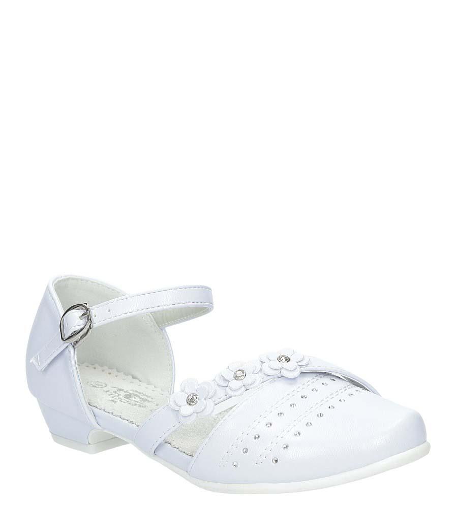 Białe buty komunijne z kwiatkami Casu 5KM-224