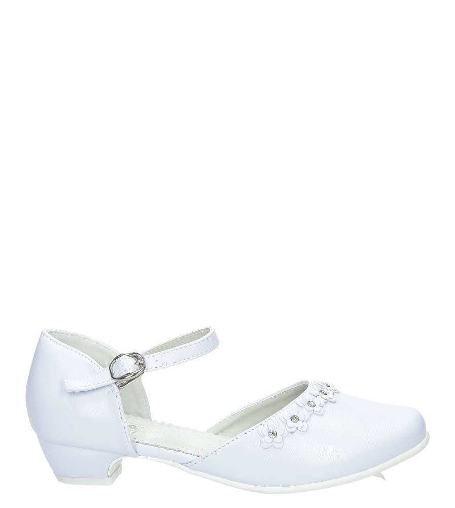 Białe buty komunijne z kwiatkami Casu 7KM-223