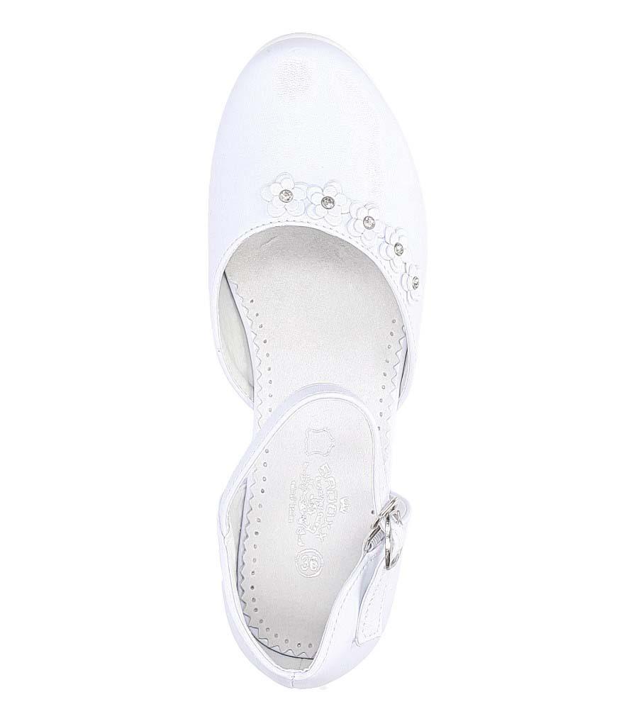 Białe buty komunijne z kwiatkami Casu 7KM-223 wysokosc_obcasa 3 cm