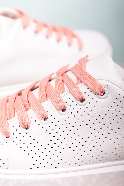 Białe buty sportowe ażurowe sznurowane Casu M929-2 biały