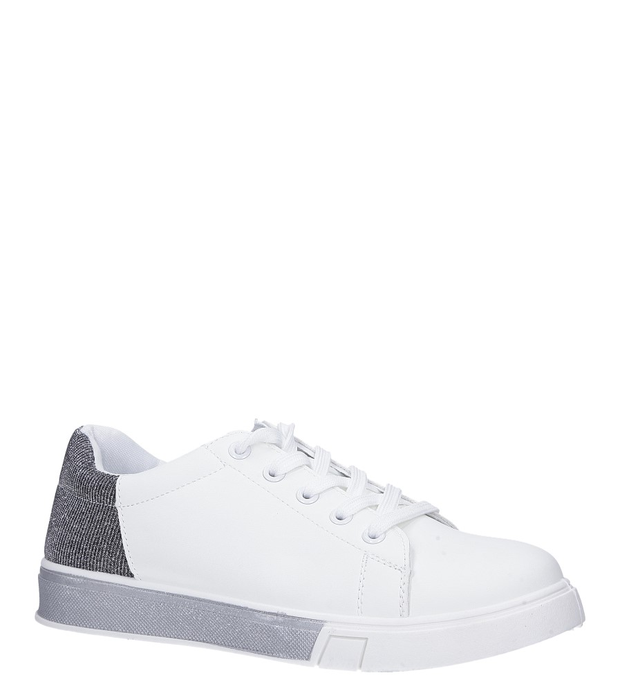 Białe buty sportowe brokatowe sznurowane Casu 02004(D0611)