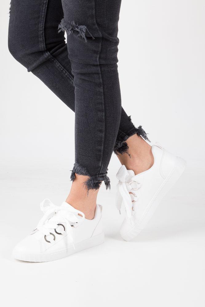 Białe buty sportowe creepersy na platformie sznurowane Casu AB-67