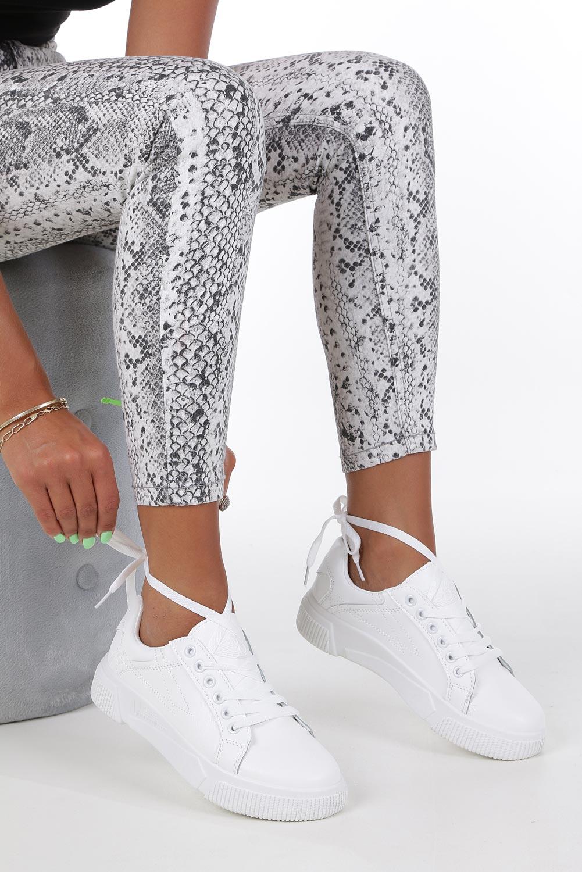 Białe buty sportowe creepersy sznurowane Casu W88 biały