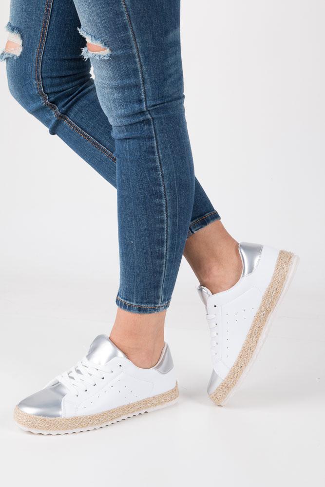 Białe buty sportowe espadryle sznurowane Casu R-227 biały