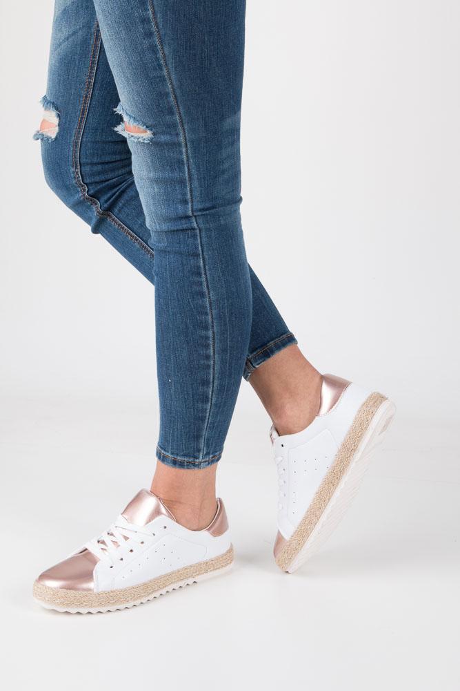 Białe buty sportowe espadryle sznurowane Casu R-227