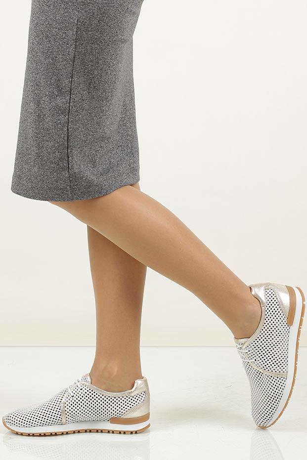 Białe buty sportowe skórzane sznurowane Creator 9811A
