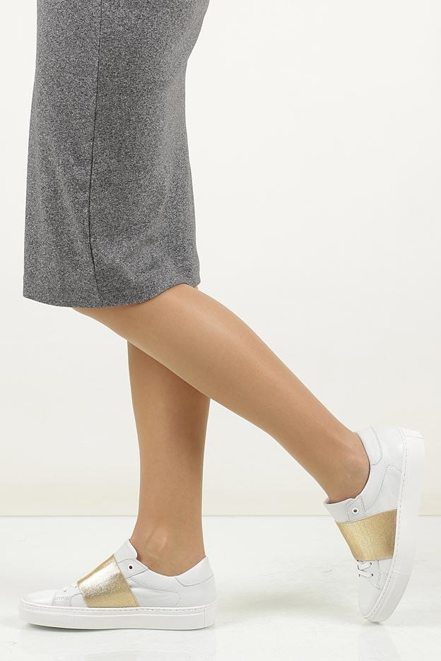 Białe buty sportowe skórzane sznurowane Creator S-2420E