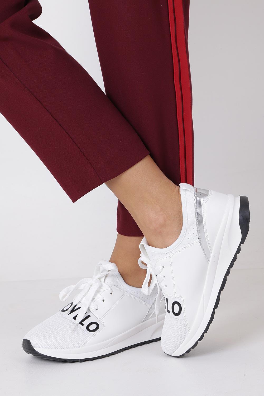Białe buty sportowe sneakersy na platformie sznurowane Casu 956-2