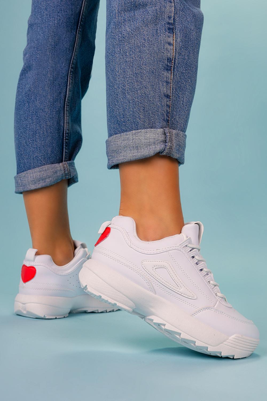 Białe buty sportowe sneakersy na platformie sznurowane Casu F29-5 biały