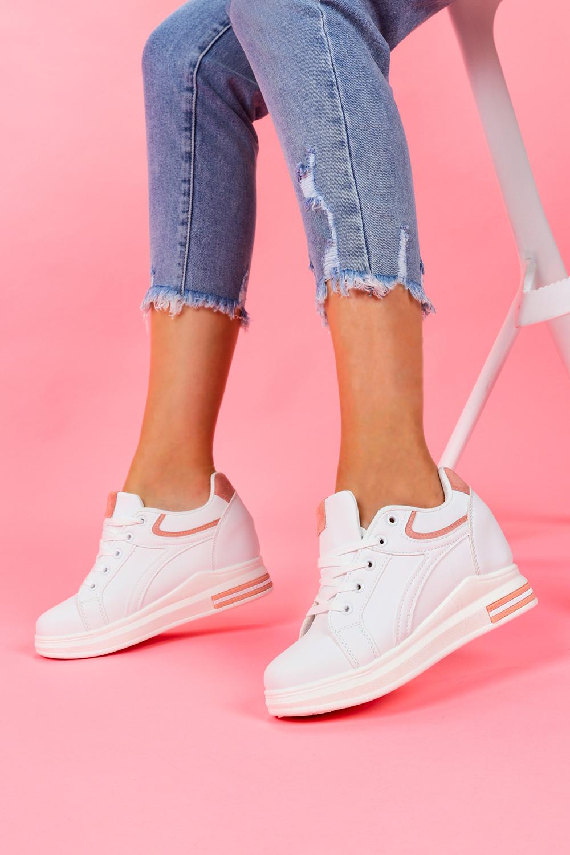 Białe buty sportowe sneakersy na ukrytym koturnie sznurowane Casu BY-0370/B biały