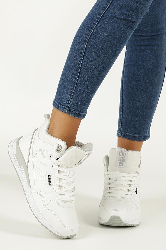 eaffba58 ... Białe buty sportowe sneakersy ocieplane sznurowane Big Star BB274638  sezon Zima ...