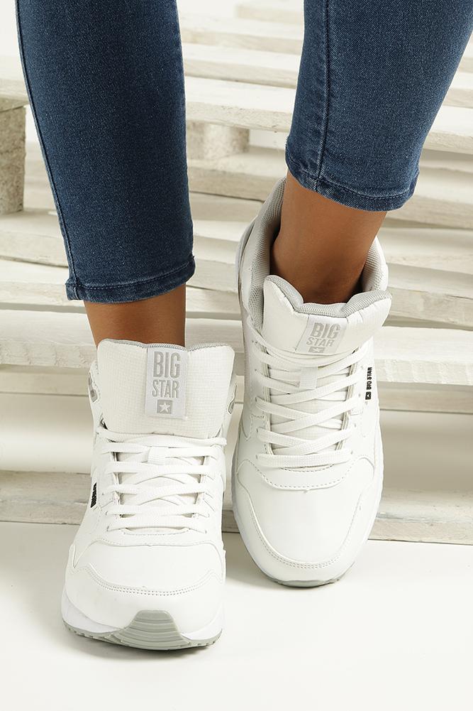 5454ca3d ... Białe buty sportowe sneakersy ocieplane sznurowane Big Star BB274638  wysokosc_platformy 2 cm ...