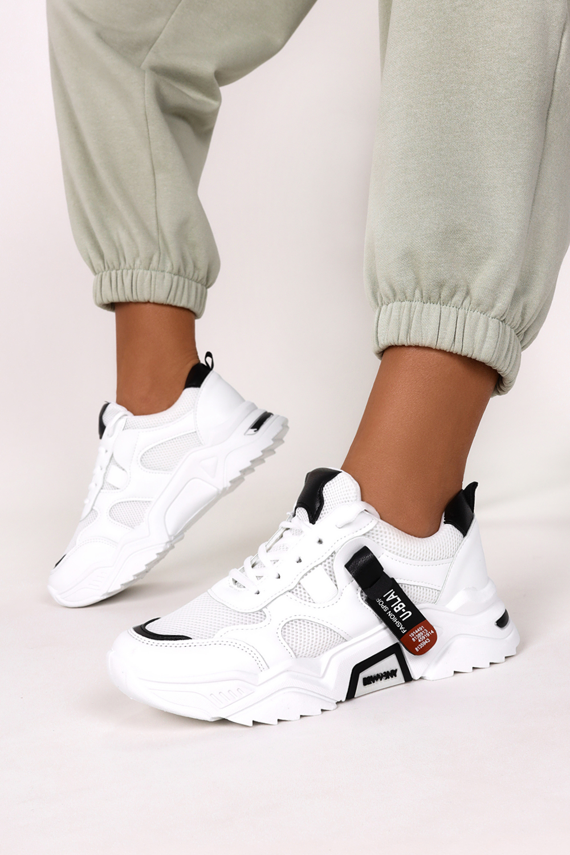 Białe buty sportowe sneakersy sznurowane Casu 20F5/B biały