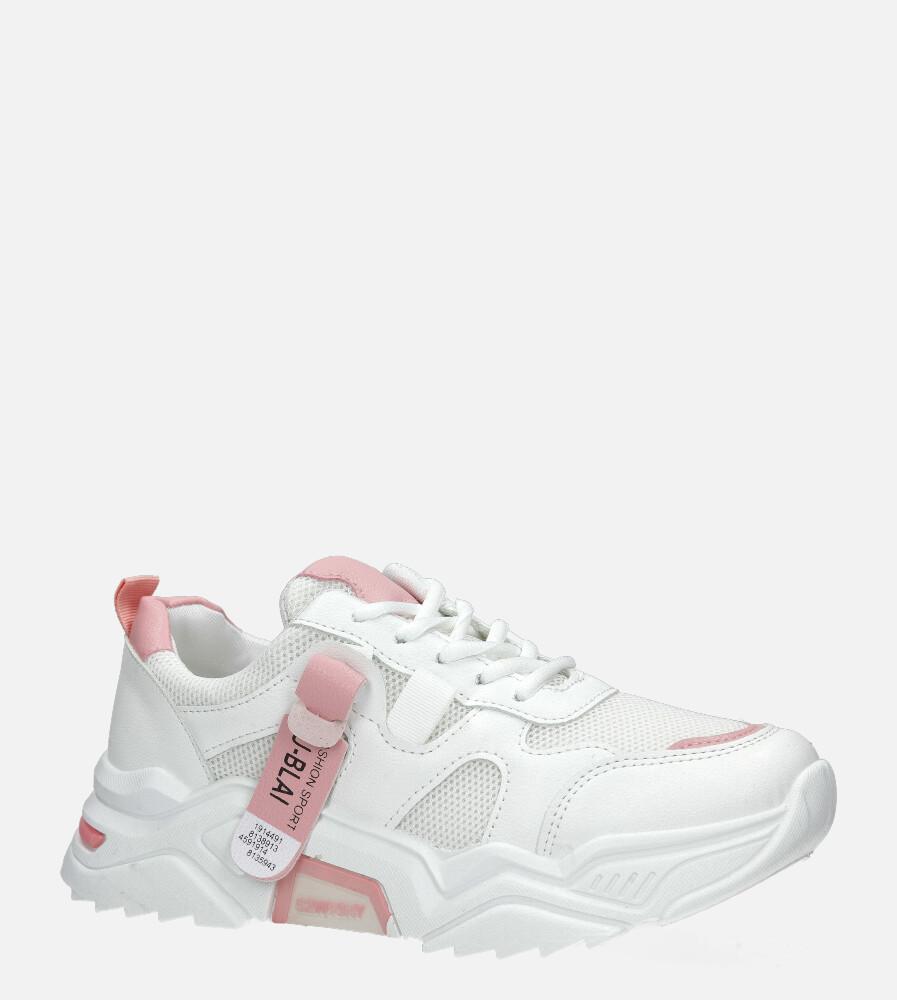 Białe buty sportowe sneakersy sznurowane Casu 20F5/P biały