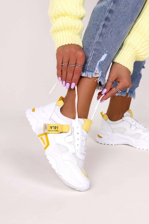 Białe buty sportowe sznurowane z holograficzną wstawką i żołtą podeszwą Casu 8 K692C Ceny i opinie Ceneo.pl