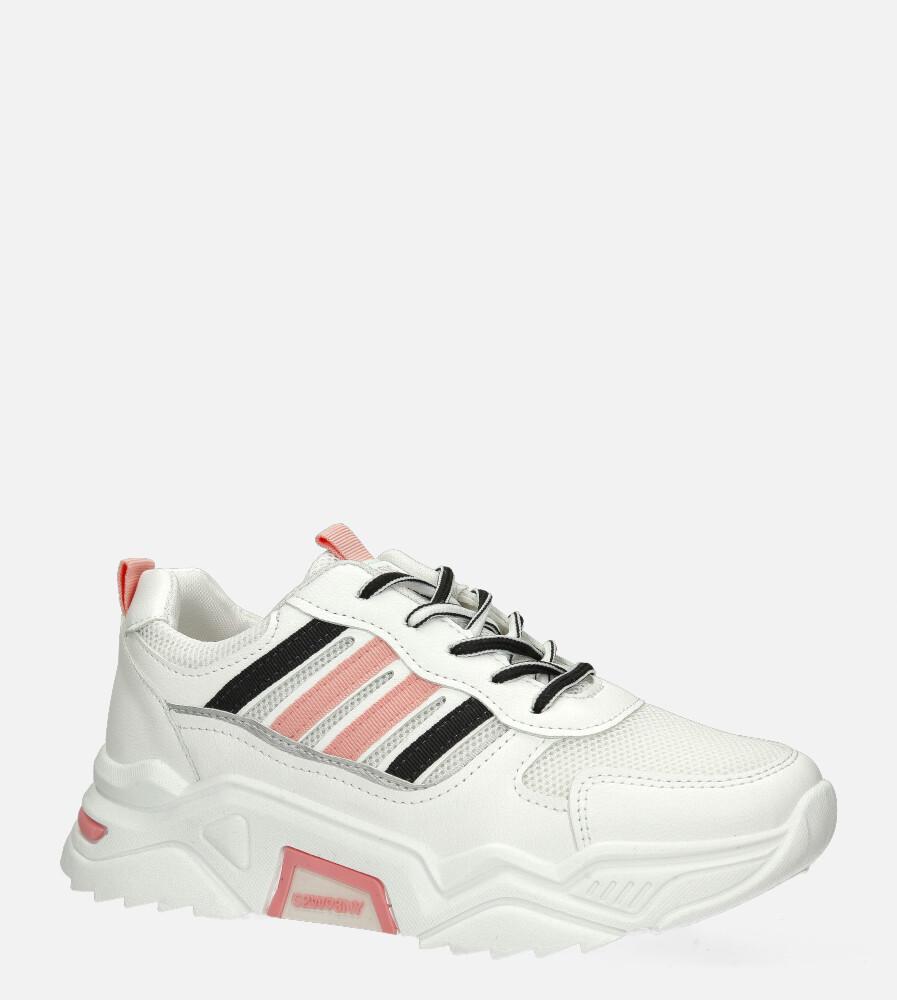 Białe buty sportowe sneakersy sznurowane Casu 20F7/P biały