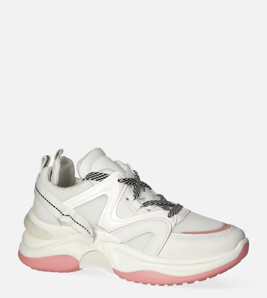 Białe buty sportowe sneakersy sznurowane Casu 20G10/W biały