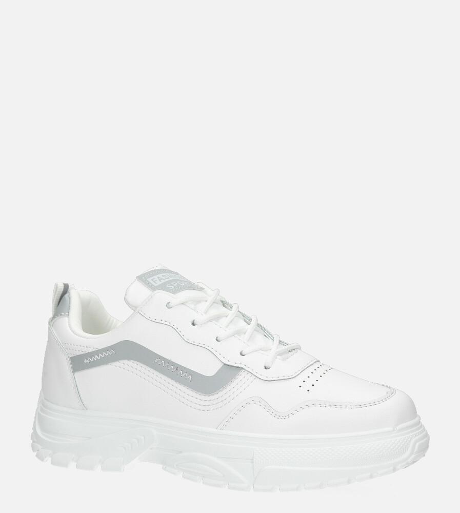 Białe buty sportowe sneakersy sznurowane Casu 20G14/G biały