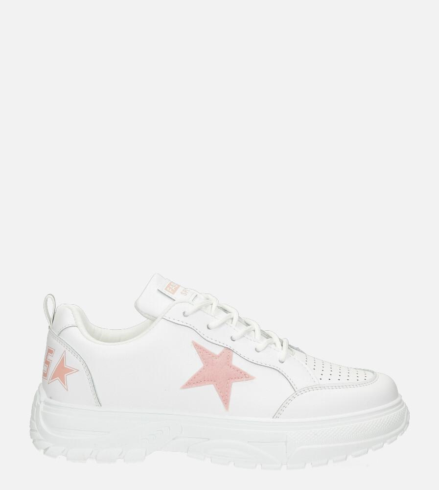 Białe buty sportowe sneakersy sznurowane Casu 20G15/P biały
