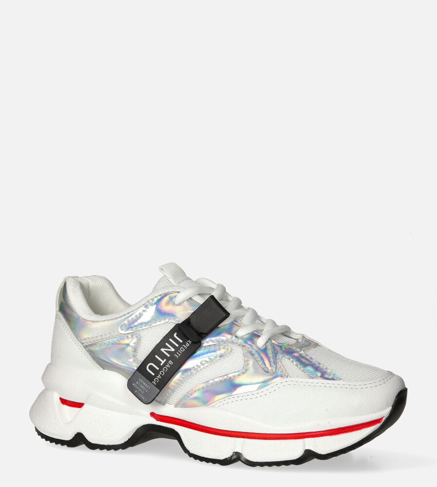 Białe buty sportowe sneakersy sznurowane Casu 20G18/S biały