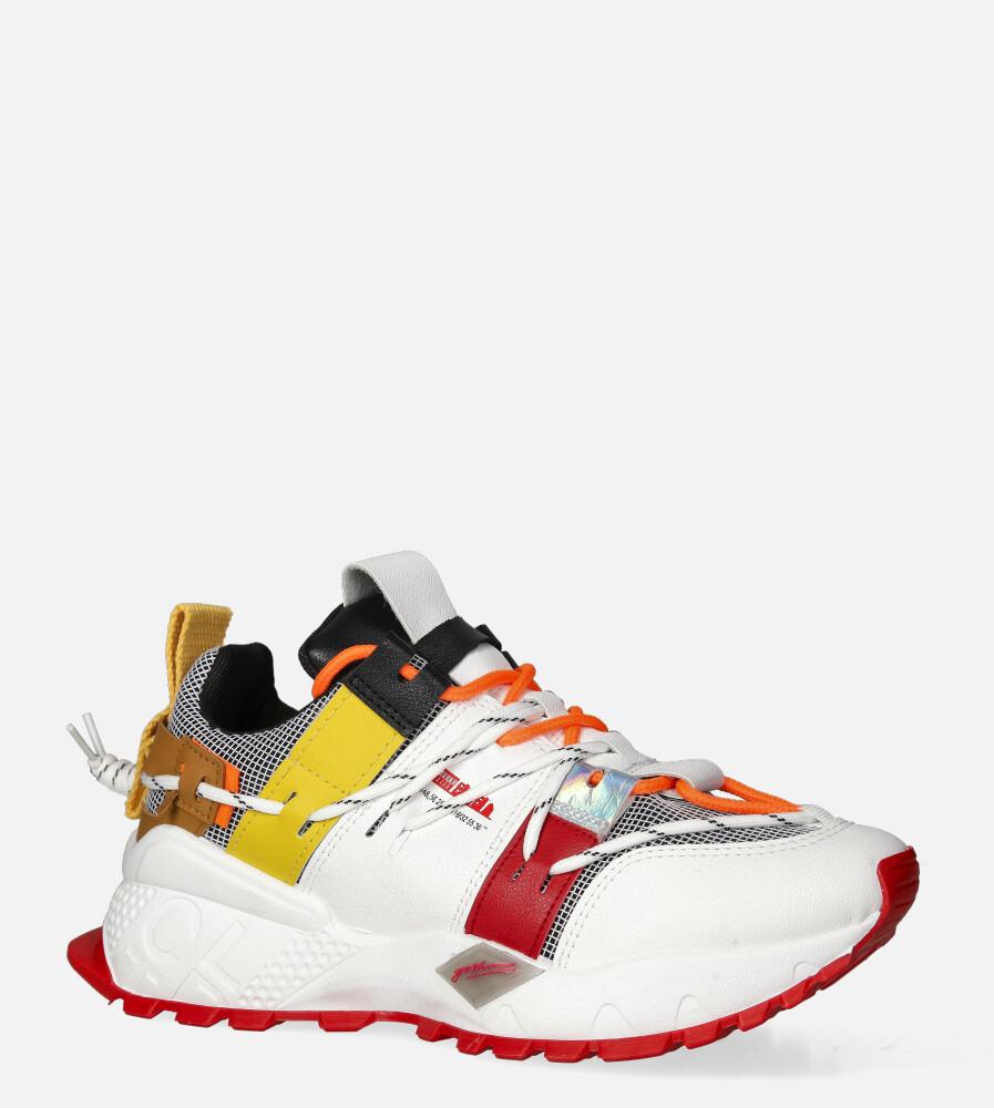 Białe buty sportowe sneakersy sznurowane Casu 20G2/R biały