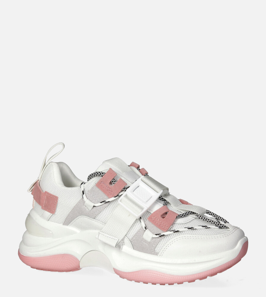 Białe buty sportowe sneakersy sznurowane Casu 20G4/P biały