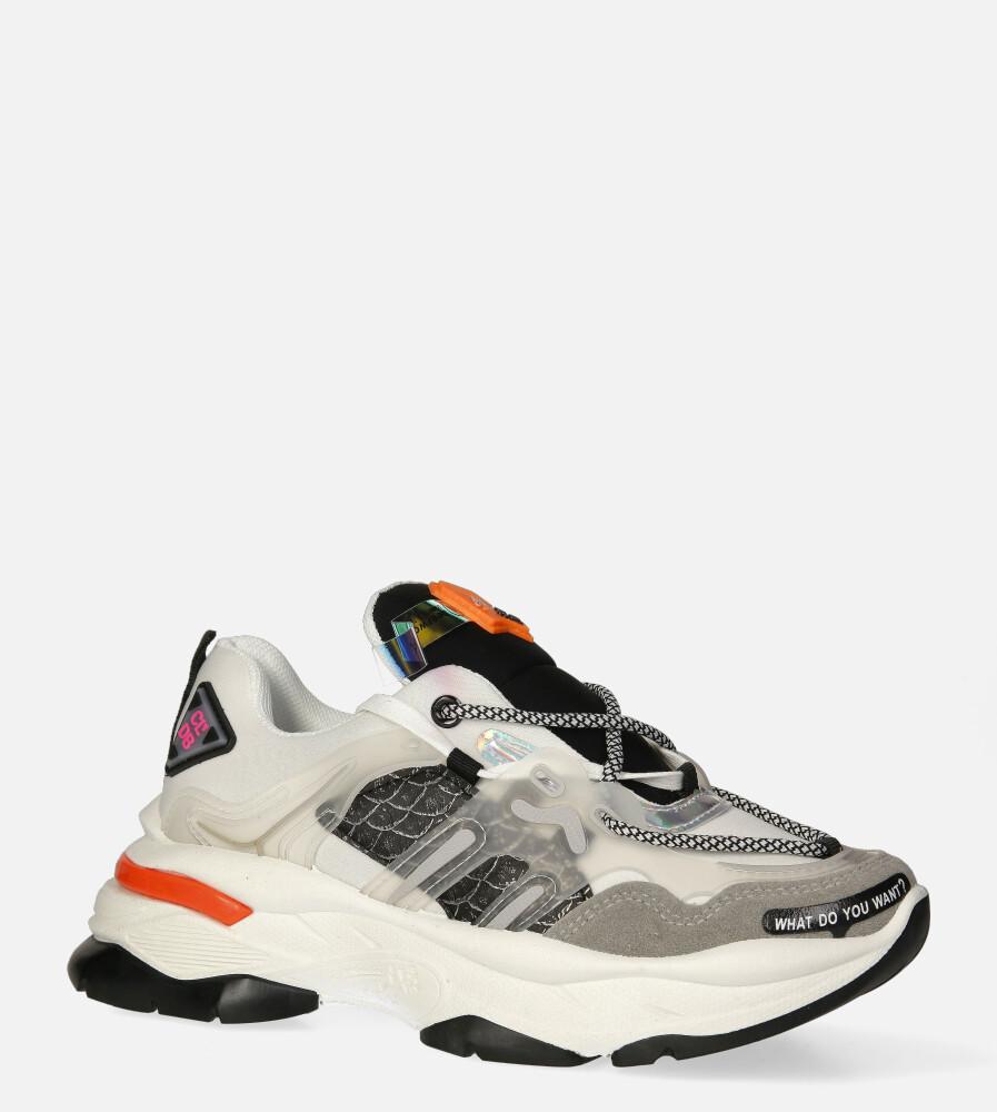 Białe buty sportowe sneakersy sznurowane Casu 20G7/G biały