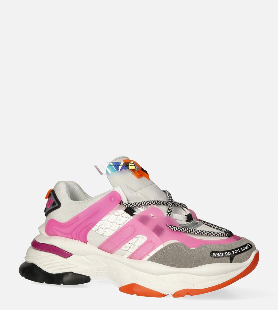 Białe buty sportowe sneakersy sznurowane Casu 20G7/P biały