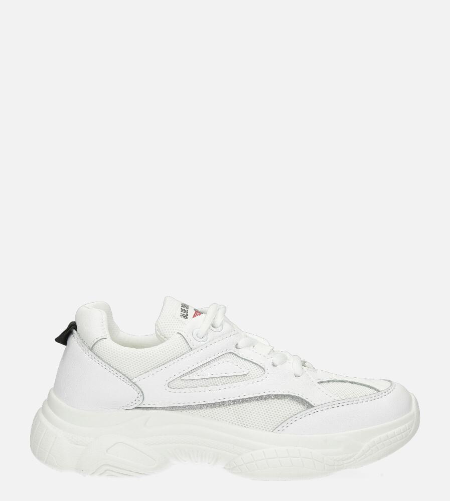 Białe buty sportowe sneakersy sznurowane Casu 20P14/M biały